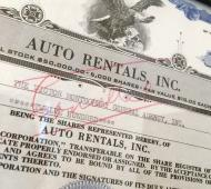 signed stock cert auto rental 17 Detail